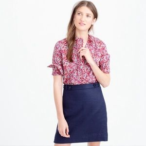 J. Crew | Pink Floral Ruffled Tunic
